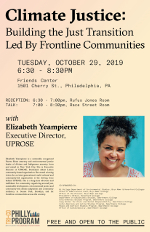 Thumbnail for talk by Elizabeth Yeampierre on Climate Justice at Friends Center, October 29, 2019