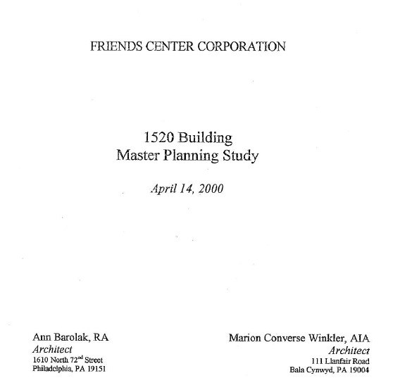 Cover of a master planning study for the 1520 Race Street building from the year 2000.